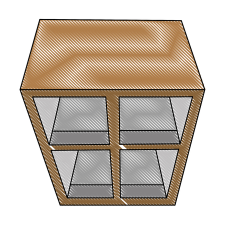 kitchen drawer wooden and glass vector illustration design