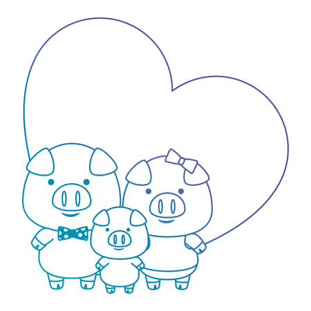 cute little family pigs in heart adorables characters vector illustration design