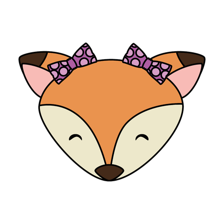 cute female fox head adorable character vector illustration design