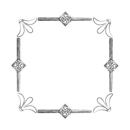 square victorian frame isolated icon vector illustration design Illusztráció