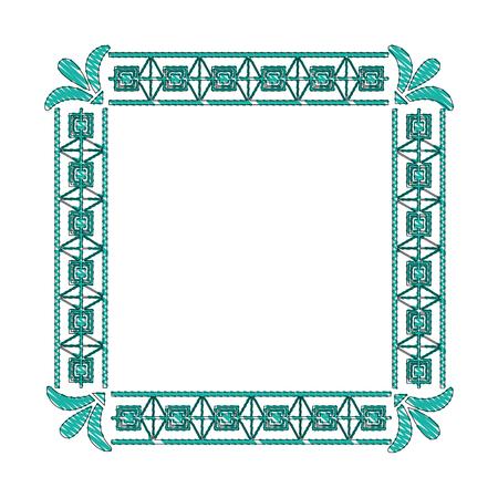 square victorian frame isolated icon vector illustration design Çizim