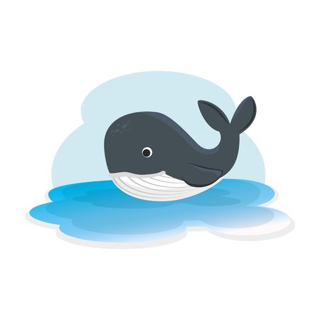 cute whale in the ocean character vector illustration design