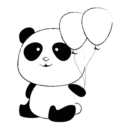 cute panda bear with balloons air character vector illustration design 向量圖像
