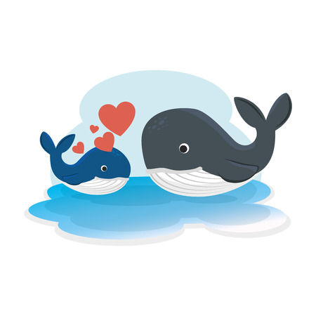 cute mother and son whales with hearts characters vector illustration design