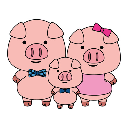 cute little family pigs adorables characters vector illustration design Illustration