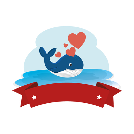 cute whale with hearts and ribbon in the ocean character vector illustration