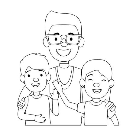 best dad with little daughter and son characters vector illustration design Illustration