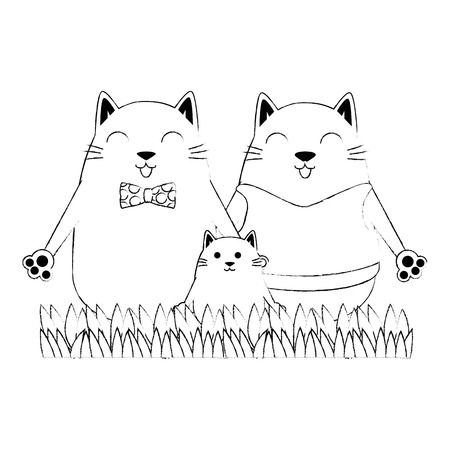 cute family cats characters vector illustration design