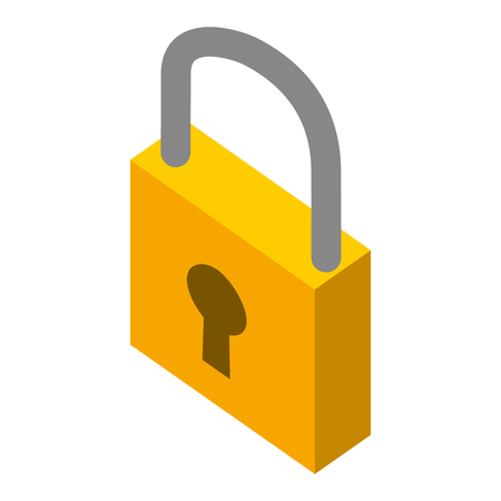 closed security padlock protection isometric symbol vector illustration