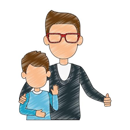 best dad with little son characters vector illustration design Ilustração