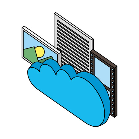 cloud computing with formats files isometric icon
