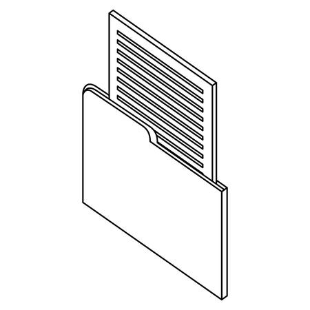 folder file data infomation isometric image vector illustration thin line Illustration