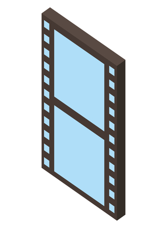 movie film strip negative isometric vector illustration