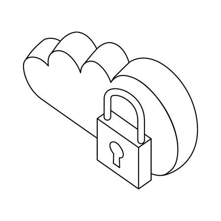 cloud computing data security isometric vector illustration thin line