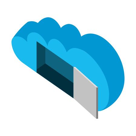 open cloud computing storage technology data isometric vector illustration