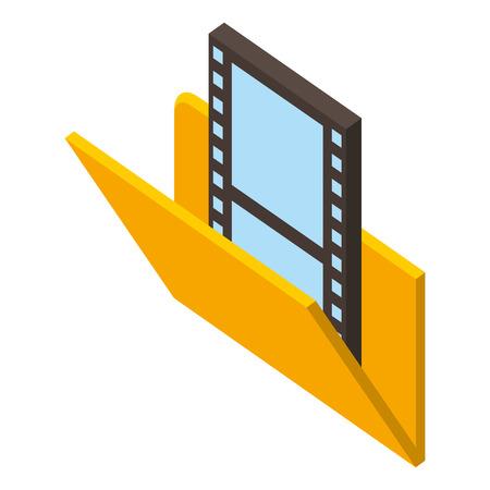 social media folder movie film isometric vector illustration