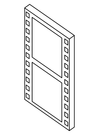movie film strip negative isometric vector illustration thin line Illustration