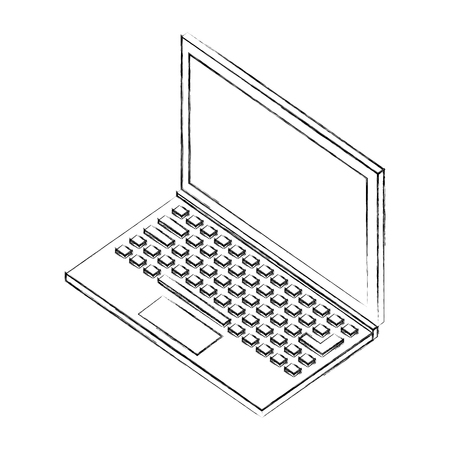 laptop device wireless isometric image vector illustration sketch Illustration