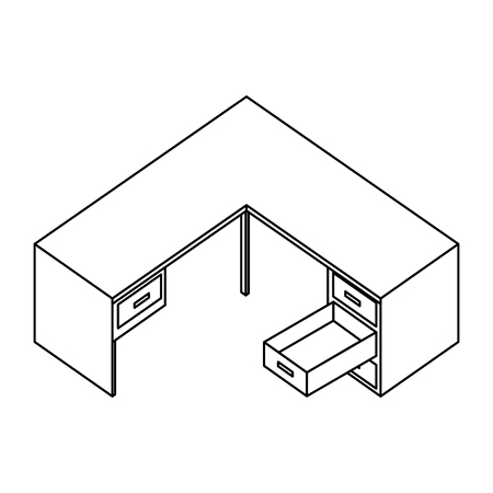 office desk furniture drawers isometric image vector illustration thin line
