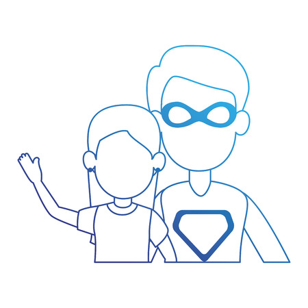 super best dad with daughter characters vector illustration design Illustration