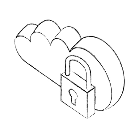 cloud computing data security isometric vector illustration sketch
