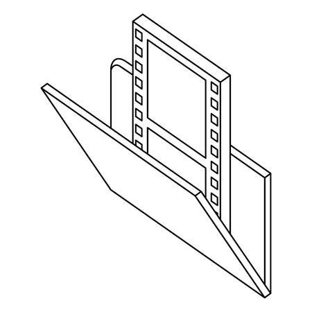 social media folder movie film isometric vector illustration thin line