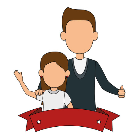 best dad with little daughter characters and ribbon vector illustration design