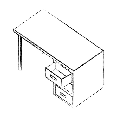 office desk furniture drawers isometric image vector illustration sketch Illusztráció