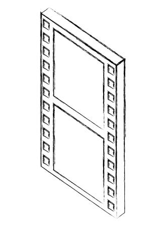 movie film strip negative isometric vector illustration sketch Illustration