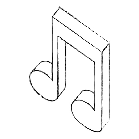 music note sound audio isometric vector illustration sketch