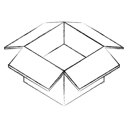 open cardboard box package isometric vector illustration sketch