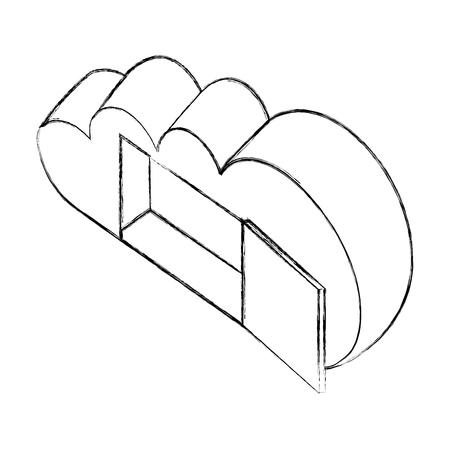 open cloud computing storage technology data isometric vector illustration sketch Illustration