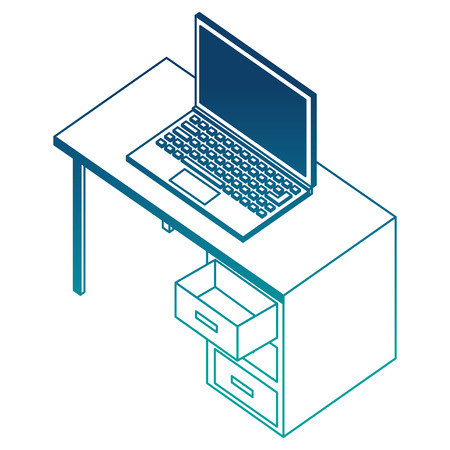 office desk with laptop computer isometric icon vector illustration design 스톡 콘텐츠 - 101511451