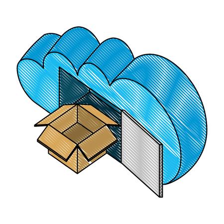 cloud computing with box carton isometric icon vector illustration design