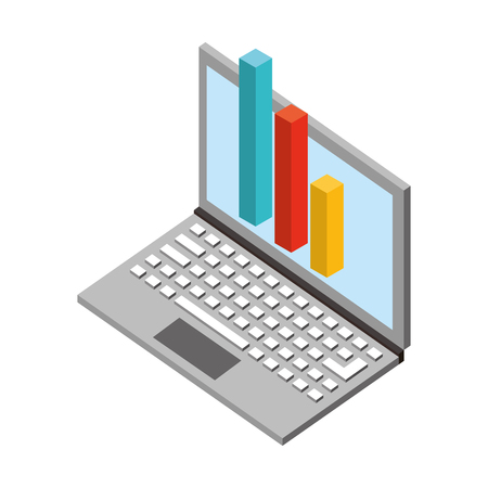 laptop computer with bars statistics isometric icon vector illustration design