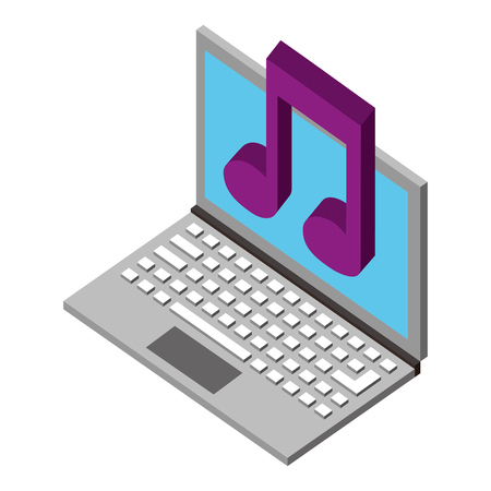 laptop computer with music note isometric icon vector illustration design 向量圖像