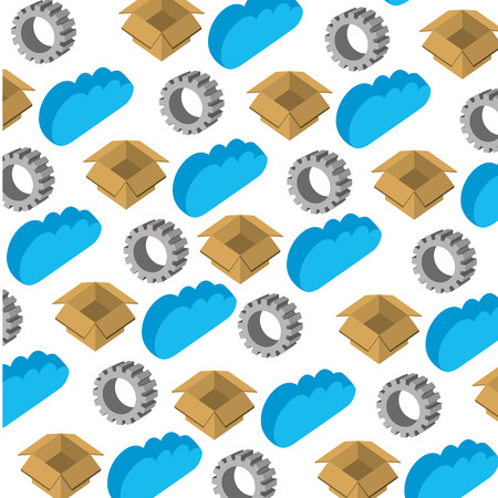 cloud computing with box and gear pattern vector illustration design Illustration