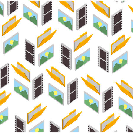 folder document with picture and video files pattern vector illustration design Illustration