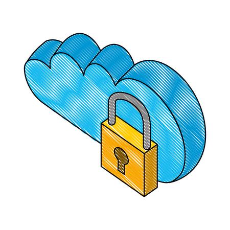 cloud computing with padlock isometric icon vector illustration design