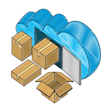 cloud computing with boxes carton isometric icon vector illustration design Illustration