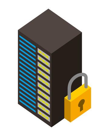 server data center with padlock isometric icon vector illustration design Stock Vector - 101511530