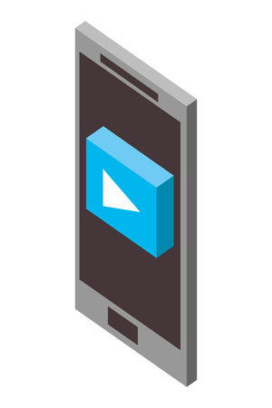 smartphone device with play button isometric icon vector illustration design Ilustração