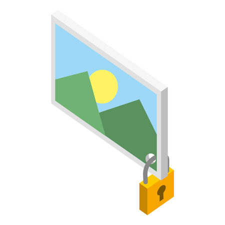 picture file with padlock isometric icon vector illustration design