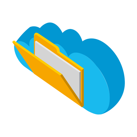 cloud computing with folder isometric icon vector illustration design Illustration