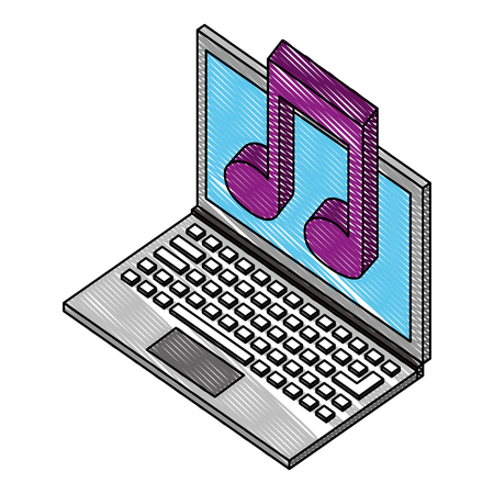 laptop computer with music note isometric icon vector illustration design  イラスト・ベクター素材