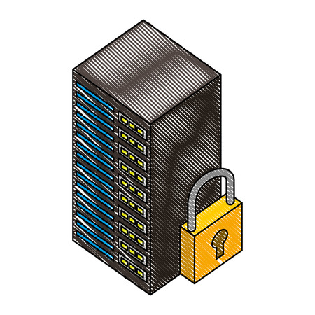 server data center with padlock isometric icon vector illustration design