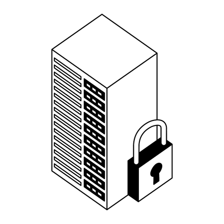 server data center with padlock isometric icon vector illustration design