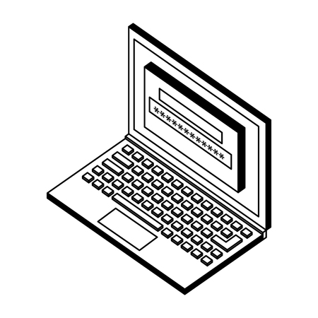 laptop computer with login password isometric icon vector illustration design 向量圖像