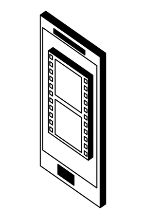 smartphone device with video format isometric icon vector illustration design