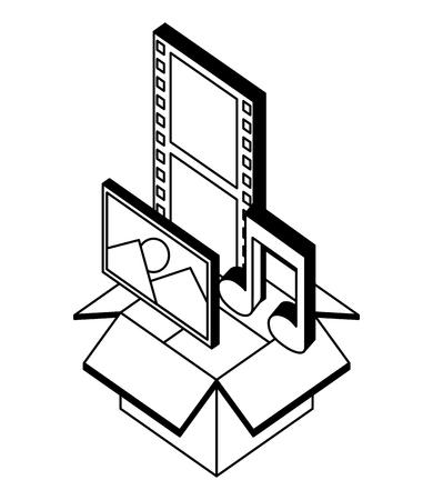 box carton with format files isometric icon vector illustration design
